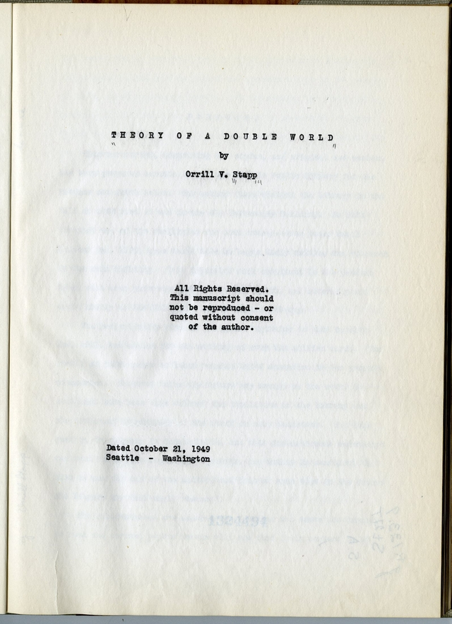 Orrill Stapp's manuscript title page