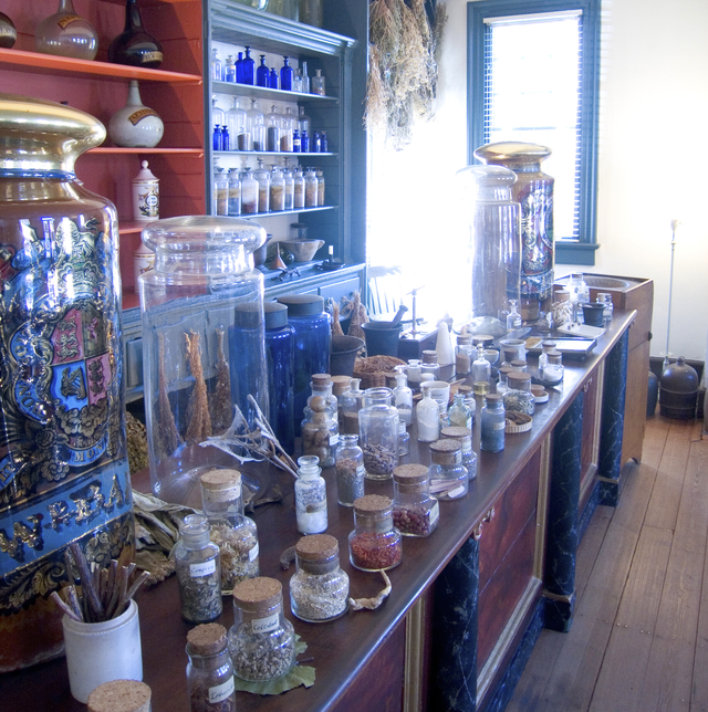 Photograph of recreated apothecary shop